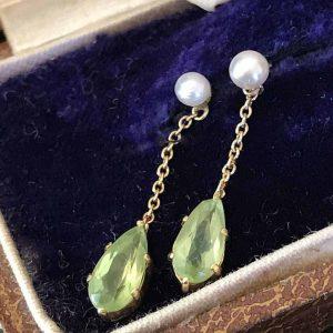 Exquisite, Edwardian 15ct, 15k 625 Gold Peridot & Pearl drop, earrings C1901