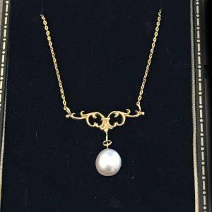 Exquisite, Edwardian 18ct, 18k, 750 Gold Baroque Pearl lavaliere, necklace C1910
