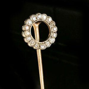 Exquisite Edwardian 18ct, 18k, 750 Gold Diamond 0.25ct stick, tie, cravat pin