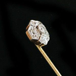 Exquisite Edwardian 18ct, 18k, 750 Gold Diamond stick, tie, cravat, Lapel pin
