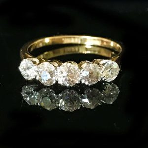 Exquisite Edwardian, 18ct, 18k, 750 Gold European-cut diamond 1.25ct ring, C1901