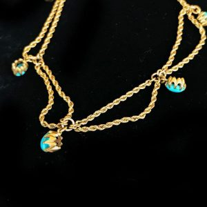 Exquisite Edwardian 18ct, 18k, 750 Gold Persian Turquoise festoon necklace C1901