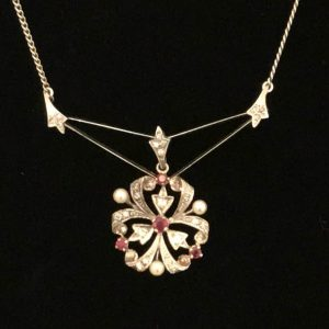 Exquisite, Edwardian 18ct, 18k, 750 Gold Ruby, Diamond & Pearl Lavaliere C1910