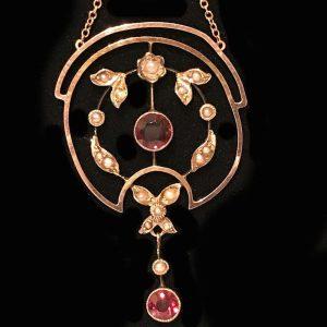 Exquisite, Edwardian 9ct, 9k, 375 Gold Garnet & Pearl lavaliere necklace, C1905