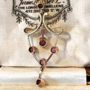 Exquisite, Edwardian 9ct, 9k, 375 Rose Gold Tourmaline & Pearl Necklace, C1910