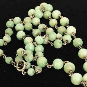 Exquisite, Edwardian Apple Jade and link chain, necklace C1910