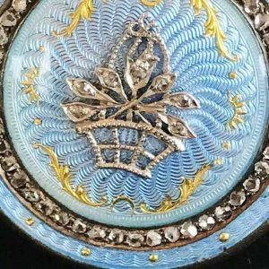 Exquisite Victorian 18ct 750 Gold Rose-cut Diamond & Guilloche Enamel brooch pin