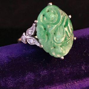 Fabulous Art Deco 18ct, 18k, 750 Carved Jadeite & Diamond Ring, Circa 1930