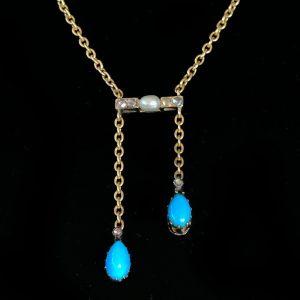 Fabulous Edwardian 18ct gold Turquoise Pearl & Diamond lavaliere, necklace C1901