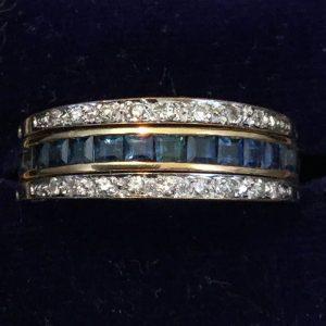 Fine 18ct, 18k, 750 Gold, Diamond, Ruby & Sapphire Day & Night flip over ring