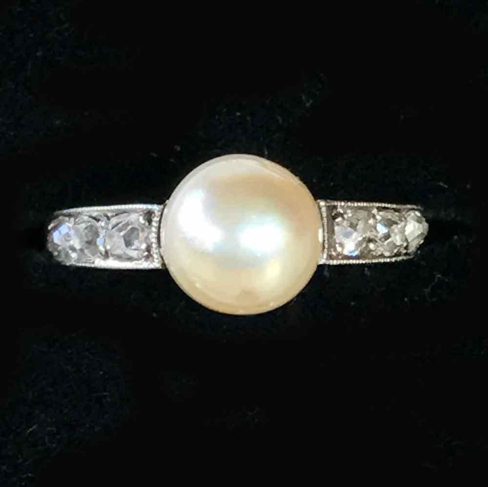 Fine, Art Deco, 18ct, 18k, 750 White Gold Saltwater Pearl & Diamond Ring,  C1920