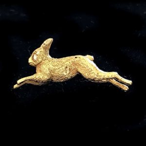 Fine Edwardian 18ct, 18k, 750 Gold & Diamond Hare, Rabbit, brooch, tie pin C1905