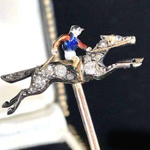 Fine, Edwardian Diamond & Enamel race horse and Jockey stick, tie pin in box