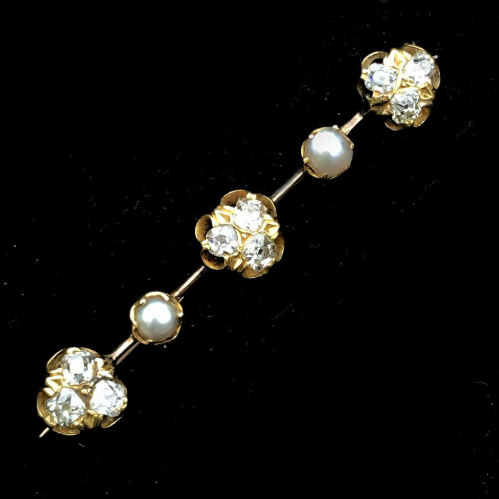 Fine Victorian, 18ct, 18k, 750 Gold Pearl & Diamond 1.20ct Brooch pin, C1880