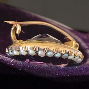 Georgian 15ct, 15k, 625 Gold Amethyst & Pearl lace brooch / pin, Circa 1830
