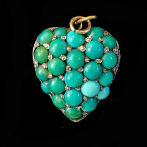 Georgian 9ct, 9k, 375 Rose Gold Turquoise pave heart pendant, c1830
