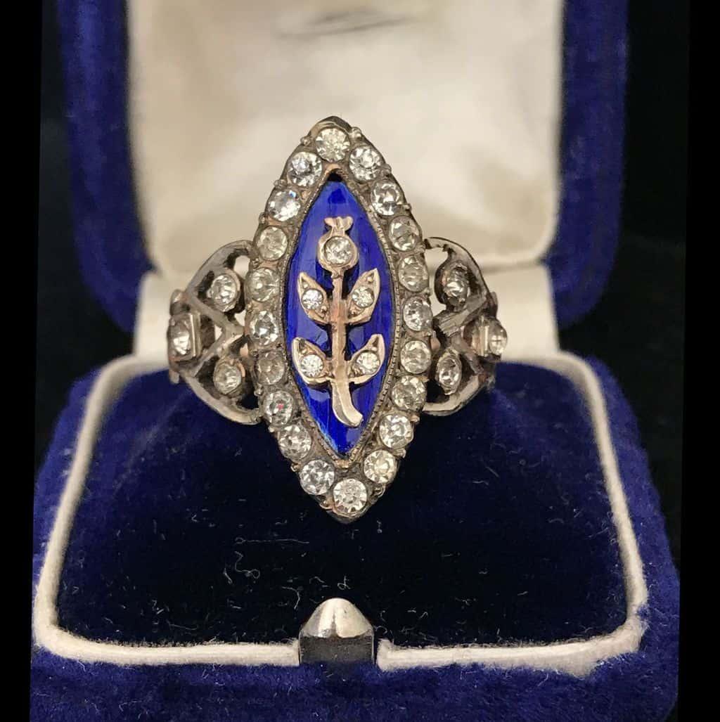 Georgian 9ct Gold & Silver, Blue Guilloche Enamel & black dot paste ring C1820