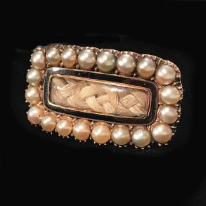 Georgian high carat Gold Natural Pearl & Black Enamel Hair mourning brooch C1823 - 382253897618