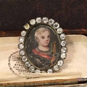 Georgian minature portrait with black dot white paste. Signed CGAB  Dated 1814