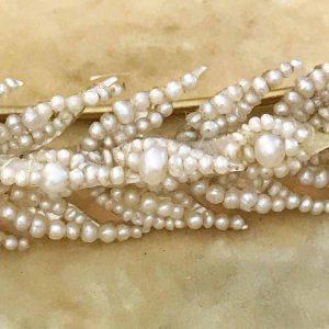 Georgian Natural pearl cluster laurel leaf, brooch, pin Length 88mm Circa 1810