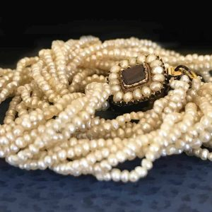 Georgian, natural saltwater seed pearl, 6 row necklace on Garnet clasp in box