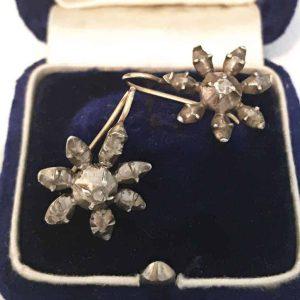 Georgian Silver & 18ct Gold, Rose-cut Diamond star earrings with hooks, C1800