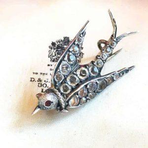 Georgian Silver black dot paste swallow, swift, dove brooch, Circa 1830