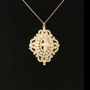 Gorgeous Georgian 15ct Gold Natural pearl Pendant, brooch, pin & chain C1780