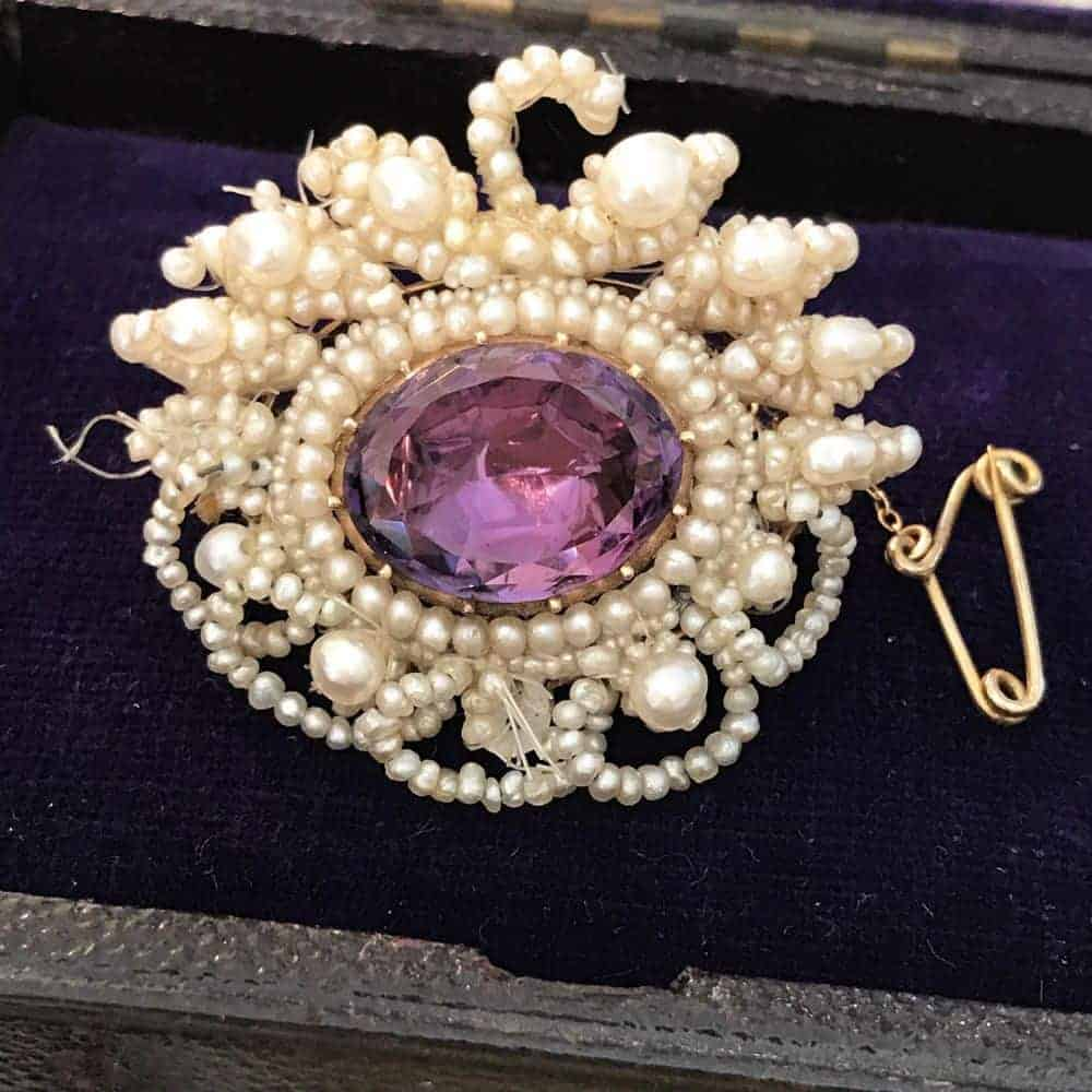Gorgeous Georgian 15ct Natural pearl & Amethyst foil backed brooch, pin C1780