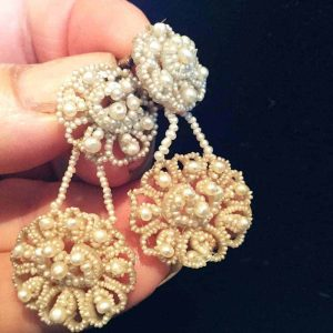 Gorgeous Georgian Demi-parure Seed pearl and MOP earrings and brooch, Circa 1820