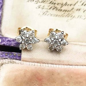 Modern 14ct, 14k, 585 Gold Diamond cluster stud earrings with post and scrolls