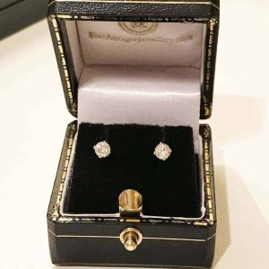 Modern 9ct, 9k, 375 gold Genuine Diamond 0.30ct solitaire earrings in box