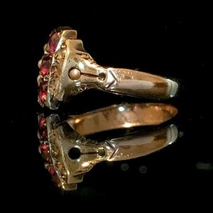 Pretty, Victorian 9ct, 9k, 375 Gold Ruby & seed Pearl ring,  Circa 1860