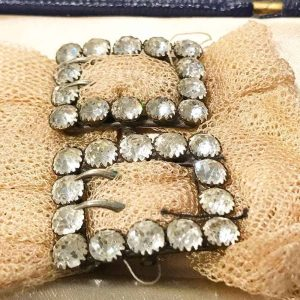 Rare, Antique Georgian French Silver Black dot Paste buckles with original cloth