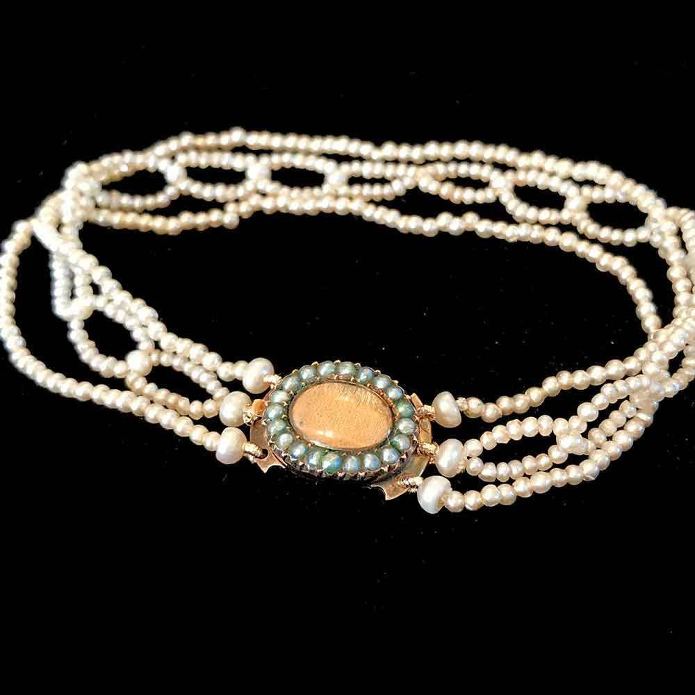 Rare, Antique, Georgian Saltwater seed Pearl bracelet with Pearl clasp.  C1800