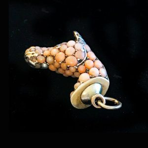 Rare, Georgian angel coral, pearl and diamond horse head charm, pendant C1835