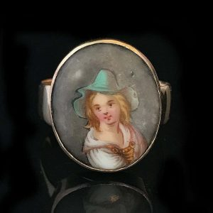 Rare, Victorian 15ct, 15k, 625 Rose Gold hand painted Portrait ring Chester 1898
