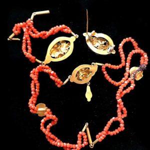 RARE, Victorian 18ct, 18k, 750 Gold & Coral Parure, H/mark Mercury head - Paris