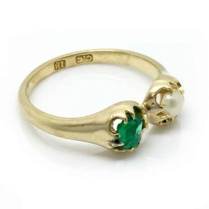 Rare, Victorian 18ct, 18k, 750 Gold Emerald & Pearl two stone ring, By Maker CG.