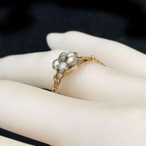 Rare Victorian 22ct Gold Pearl & Diamond Posy ring, full set of hallmarks C1858