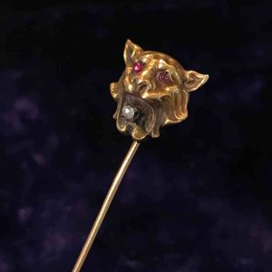 Rare, Victorian high carat Gold Ruby & Diamond Lion head tie, cravat, stickpin