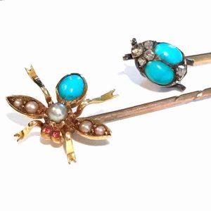 Rare, Victorian high carat Gold Turquoise & Diamond fly & Ladybird, stickpins