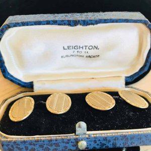 Retro, 9ct, 9k, 375 Gold engine turned engraved cufflinks & original box C1949