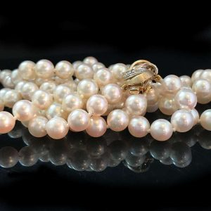 """Saltwater Cultured 6.5-7mm Pearl 2 row Necklace on 14ct Diamond clasp  Lgth:16"""""""