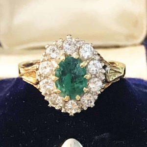 Stunning 18ct, 18k, 750 Gold Emerald & Diamond 1.25ct Cluster Ring, London 1974