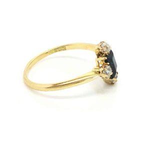 Stunning, Art Deco 18ct, 18k, 750 Gold Sapphire & Diamond cluster ring