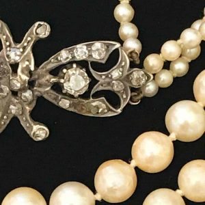 Stunning Cultured Pearl 3 row necklace on antique sapphire & diamond clasp
