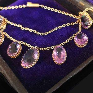 "Stunning, Victorian, 9ct, 9k, 375 Gold Amethyst fringe necklace 15.5"" /39.5cm"