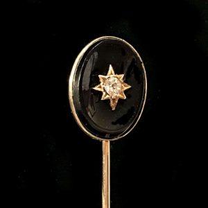 Victorian 14ct, 14k, 585 Gold Black Agate & Diamond stick, tie, cravat pin C1890