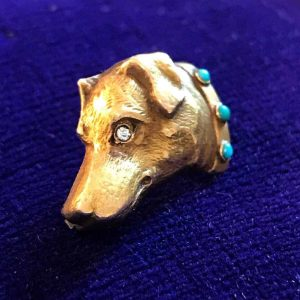 Victorian 14ct, 14k, 585 Turquoise & old-cut Diamond Dogs head brooch, pin C1895